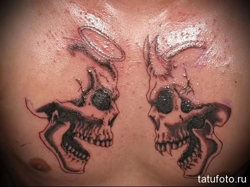 тату черепа ангела и демона - мужская татуировка на грудь