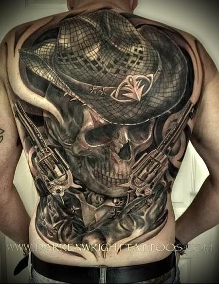 тату череп в шляпе