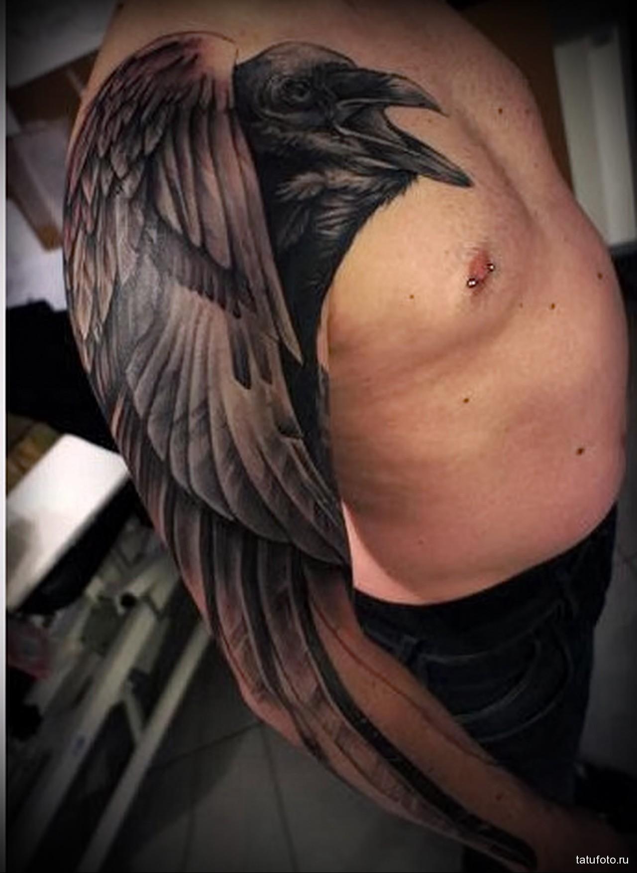 тату черный ворон большого размера - мужская татуировка на плече