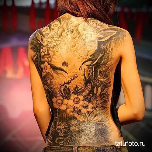 урасивая картина тату на спине женская