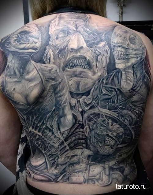 уродливые лица - татуировка на спине мужская фото