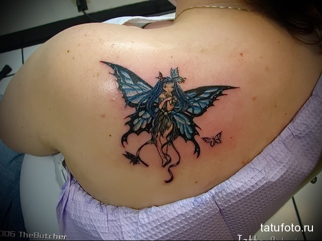 цветная тату с феей на лопатке