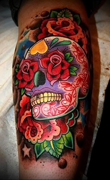 цветной череп тату 3