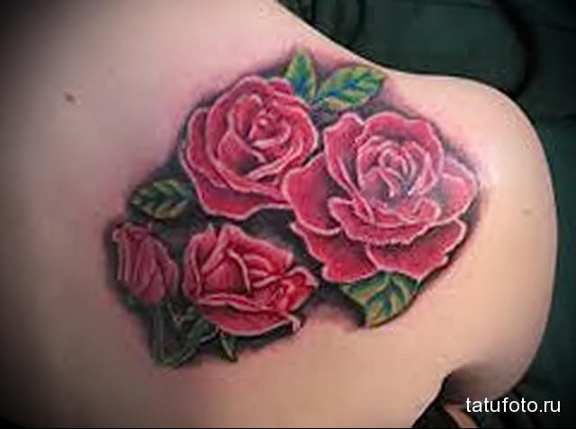 цветы роз в тату на лопатке для девушки