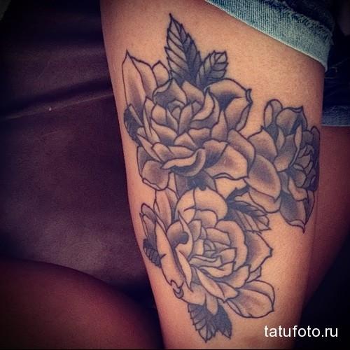 цветы роз на ногу для девушки тату