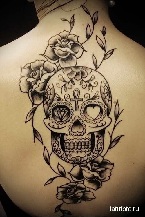 череп и розы темным цветом тату на спине женская