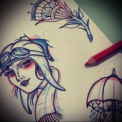 экспромт эскизы в стиле олд скул ручкой на листе бумаги
