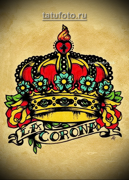 эскиз короны с надвисью в стиле олд скул тату