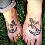 якоря разные татуировка на ноге мужская
