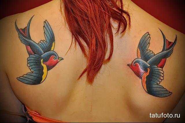 яркие ласточки в цветной тату на женских лопатках