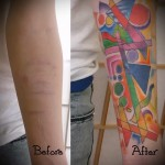 яркие фигурки - женская татуировка на шраме - перекрытие - фото