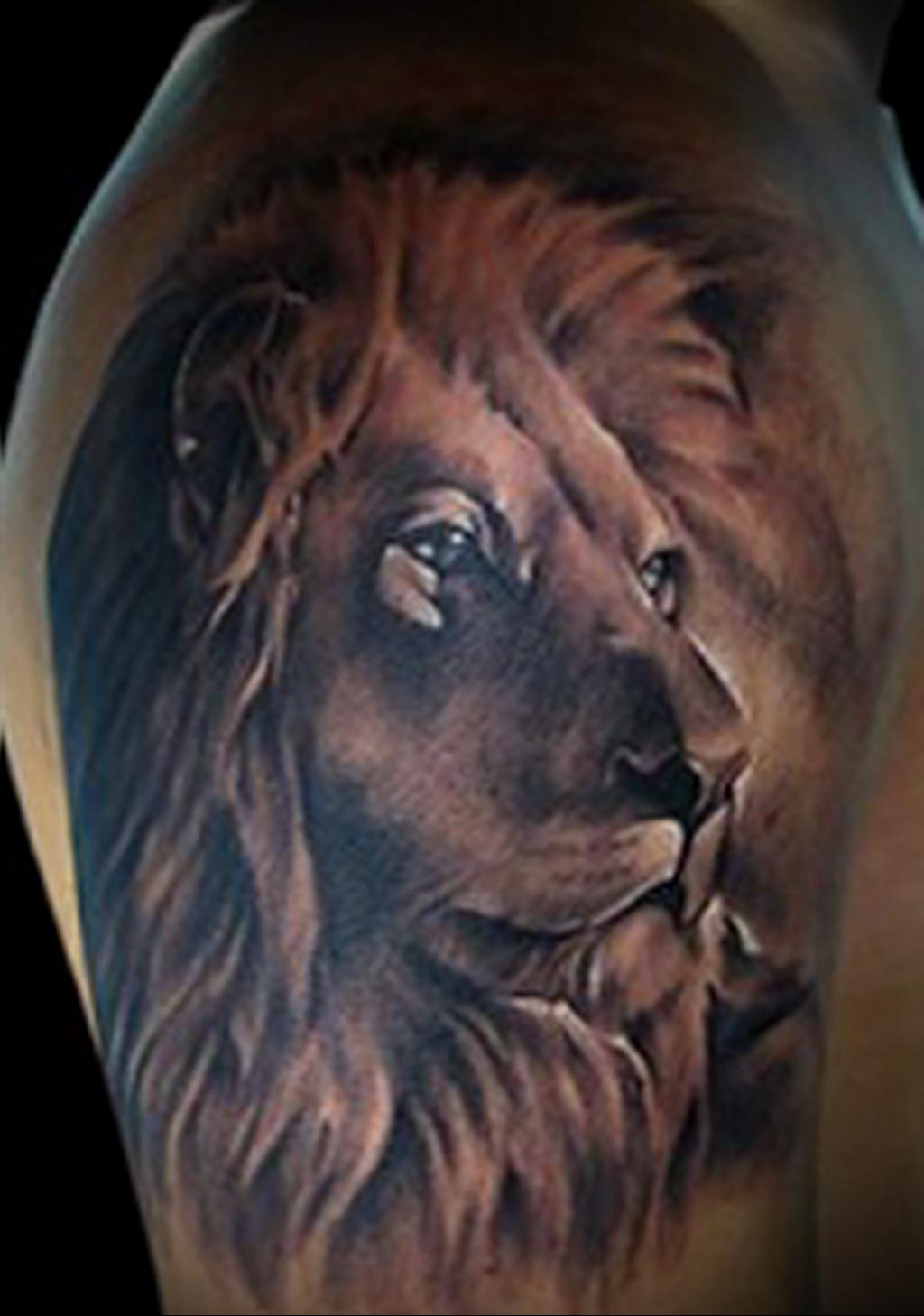 тату со знаком лев