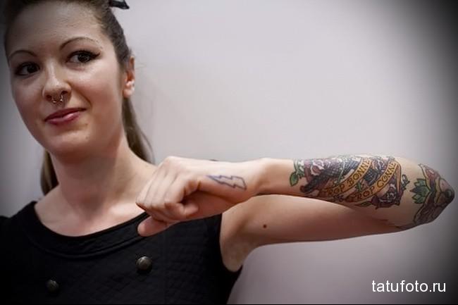 женская тату на руку - вариант (классика)