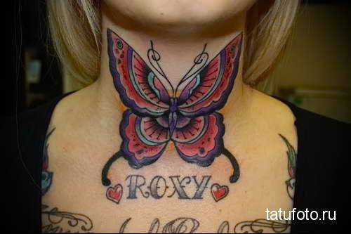 бабочка на кадык - татуировка на шее женская - фото
