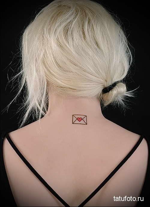 конверт с сердечком - татуировка на шее женская - фото