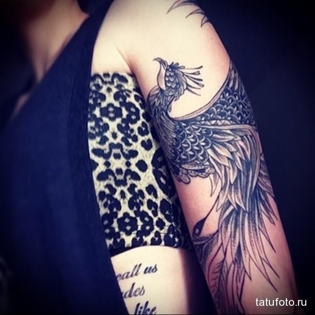 красивый феникс татуировка на руку женская