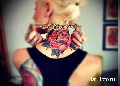крупная роза - татуировка на шее женская - фото