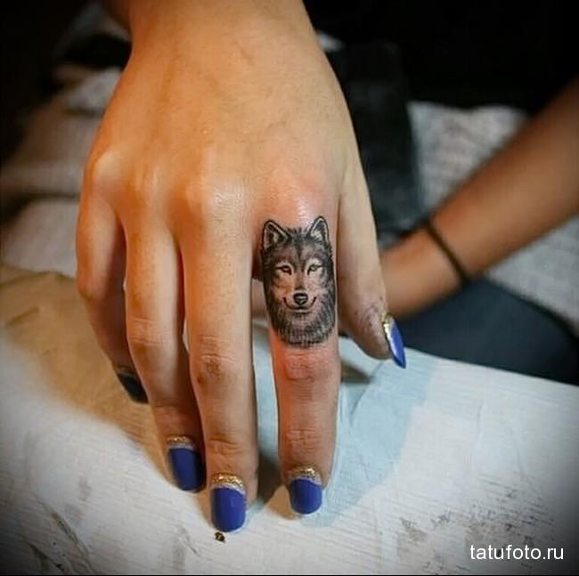 морда волка - татуировка на пальце женская (тату, tattoo)