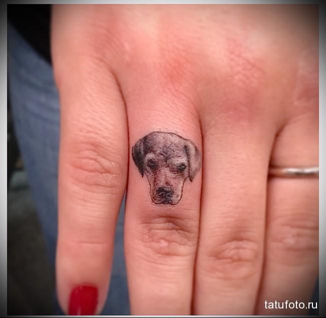 морда собаки - татуировка на пальце женская (тату, tattoo)