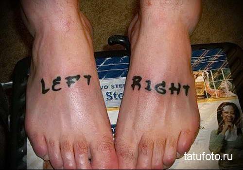 надписи left и right - татуировка на стопе мужская - фото