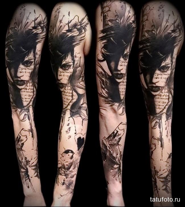 птичка и лицо девушки татуировка на руку женская