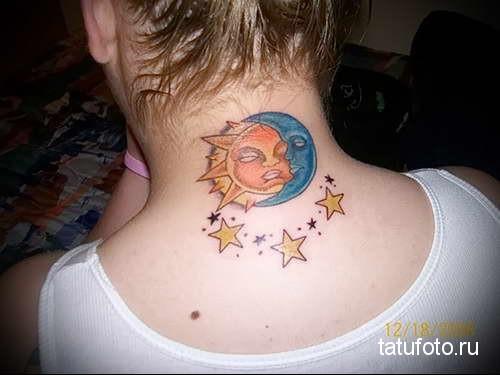 солнце - луна и звезды - татуировка на шее женская - фото