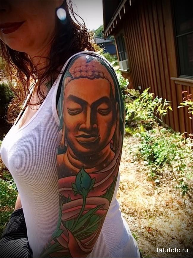 статуя будды татуировка на руку женская