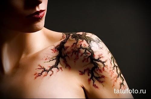татуировка дерево сакуры на плече девушки