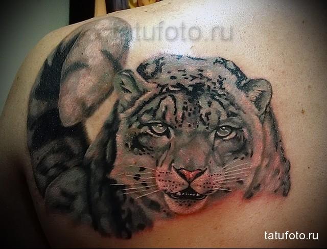 татуировка как картина маслом с рисунком леопарда