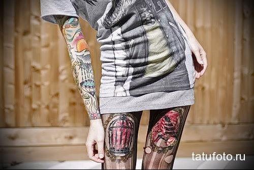 татуировка клетка и пламя на ногу для девушки