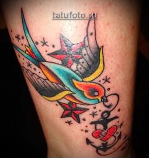 татуировка олд скул - якорь, сердце, звездочка и ласточка