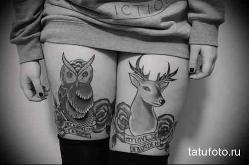 татуировка олень и сова на ногу для девушки