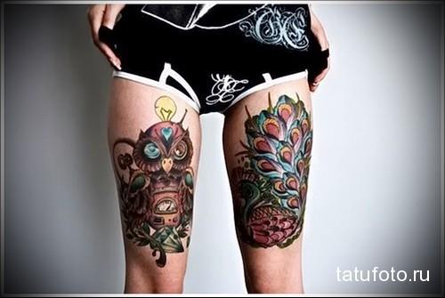 татуировка сова и павлин на ногах