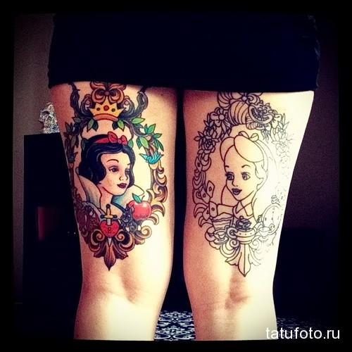 татуировка с белоснежкой на ногу для девушки