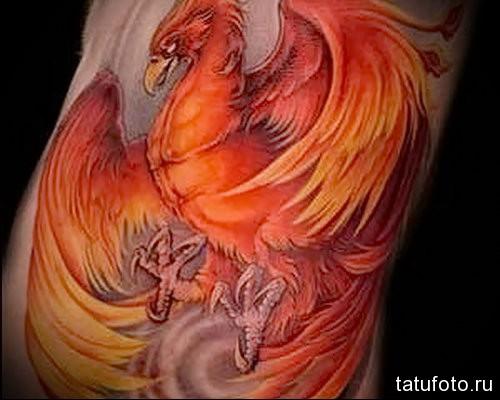 татуировка с огненным фениксом на боку мужчины