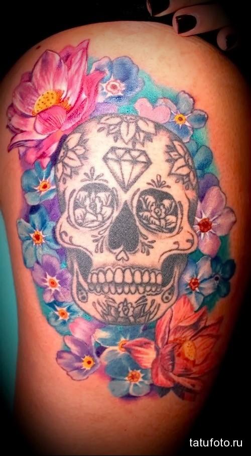 татуировка череп с алмазом во лбу