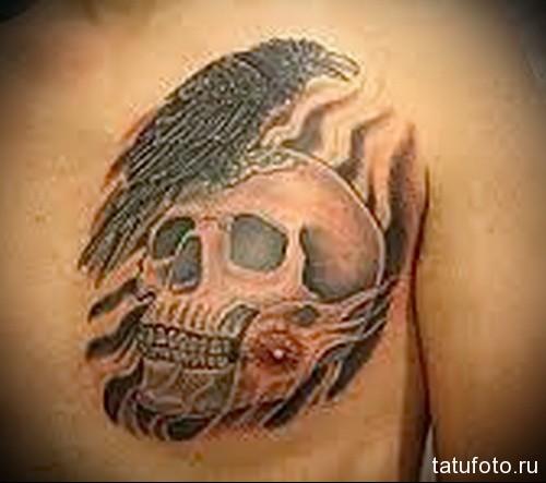 тату ворон сидит на черепе - мужская татуировка на грудь