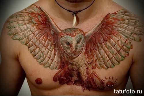 тату красная сова на всю грудь (размах крыльев) - мужская татуировка на грудь