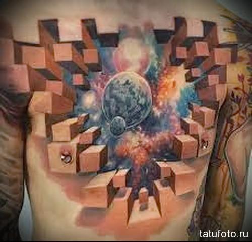 тату кубы - планеты и космос - мужская татуировка на грудь