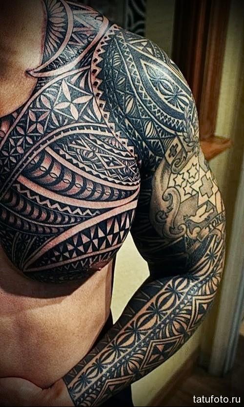тату с классными маори узорами - мужская татуировка на грудь