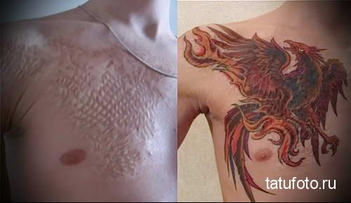 феникс на правой части груди - ТАТУ НА ШРАМЕ ДЛЯ МУЖЧИН ФОТО