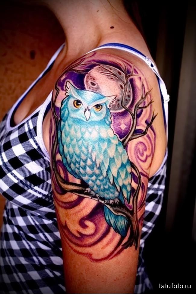 филин на ветке и полная луна татуировка на руку женская