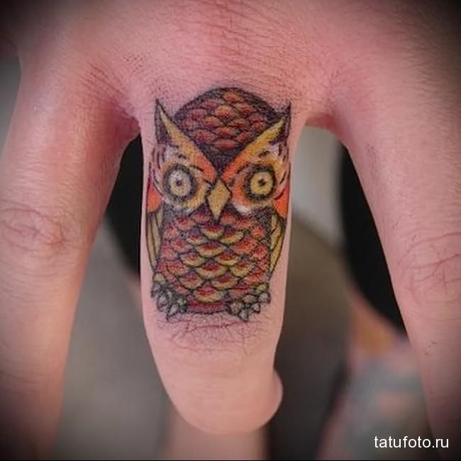 цветная сова (филин) в татуировке на пальцах для мужчины