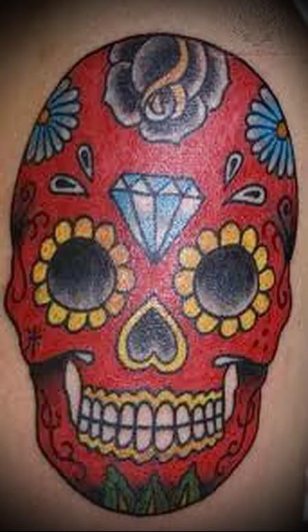 цветной череп тату