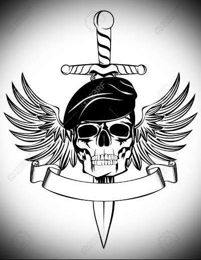 череп с крыльями в берете и нож - эскиз татуировки для военного