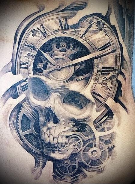 череп с часами тату 4