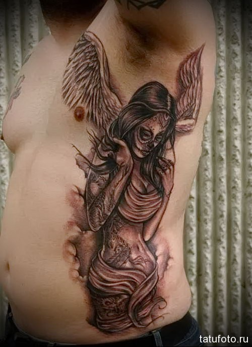 Men's tattoo on the side