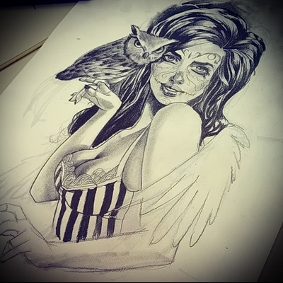 TATTOO GIRL drawing