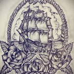 ship sketch tattoo