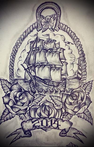 ship sketch tattoo